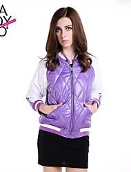 patchwork das mulheres haoduoyi® quilting costela hem casaco jaqueta esportiva do vintage