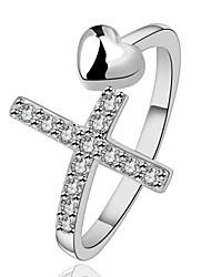 rétro décontracté personnalité de la mode en argent 925 micro insert anneau d'ouverture en forme de cœur anneau de la queue