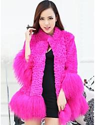 Fur Coats Women's Rabbit Hair Shorn Wool Beach Long Fur Coat(More Color)