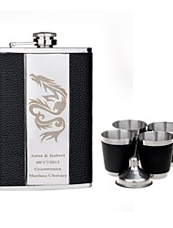 Personalized Gift Black 9oz Stainless Steel Hip Flask Set - Dragon