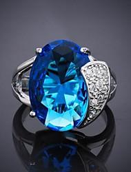 moda anillo de circón azul 8 # de las mujeres (1pc)