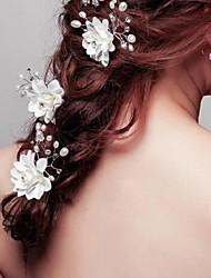 Mujer Niña de flor Cristal Aleación Perla Artificial Tejido Celada-Boda Ocasión especial Pasador de Pelo 3 Piezas