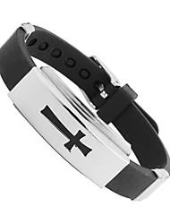 bf Geschenke Designer schwarz PU-Leder-Armband der Männer 304L Stahl Herren-Armband Edelstahl