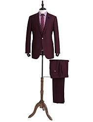 rojo oscuro sólido traje de corte sartorial en lana 100%