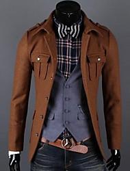 Men's Long Sleeve Long Coat , Cotton/Cotton Blend/Wool Pure