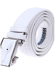 Men's Head Bopping Smooth Bucklee Cow Split Leather Belts(White)