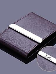couro de café personalizada e caso do cartão de aço inoxidável