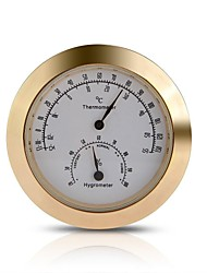Round Thermometer Hygrometer Metal for Guitar Violin Case Parts Gold Tone