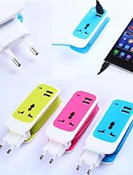 3in1 double chargeur de Voyage de port USB universelle ADAPTE de prise pour iPhone / iPad et d'autres (ac750w, 100 ~ 240V, DC5V 2.1a, prise EU)