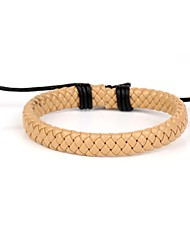 couro fresco pulseira difícil trançado bege couro dos homens ajustáveis confortáveis (1 peça)