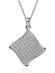 Fashion Diamond Tetragonal Micro set Zircon 925 Silver Pendant Necklace