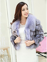 Fur Jacket Women's Fox Head Hair Fox Brought Splicing Fur Jacket(More Color)