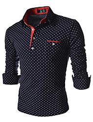 YOOY Men's Long Sleeve Slim Fashion Lapel Neck Print Polka Dots Shirts