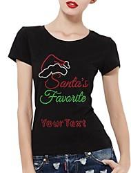personalisierte Strass t-shirts Weihnachtsbaumwollkurzschlußhülsen-Hut und Briefe Musterfrauen