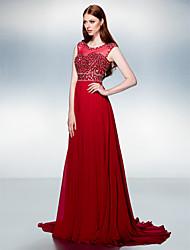 Formal Evening Dress - Burgundy A-line Jewel Court Train Chiffon