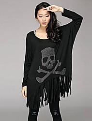 Damen Druck T-Shirt - Polyester Langarm Rundhalsausschnitt