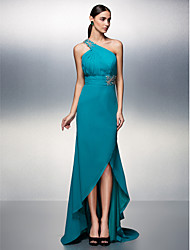 TS Couture® Formal Evening Dress Plus Size / Petite A-line One Shoulder Asymmetrical Chiffon with Appliques / Beading / Side Draping / Ruching