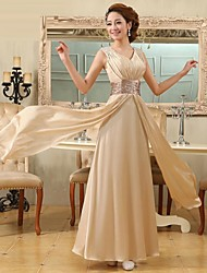 Formal Evening Dress A-line V-neck Floor-length Satin with