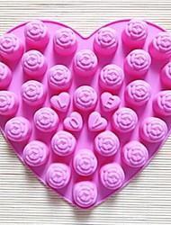 30 buracos rosa forma molde do bolo geléia gelo molde de chocolate, silicone 25 × 23 × 2 cm (9,8 × 9,1 × 0,8 polegadas)