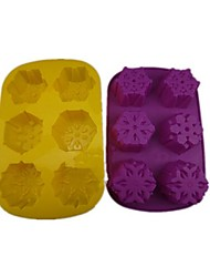 6 Hole Snow Shape Cake Ice Jelly Chocolate Molds,Silicone 28×17.8×3.4 CM(11.1×7.1×1.4INCH) Random Color