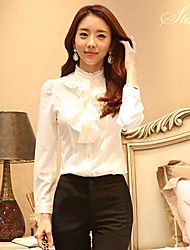 Women's Solid Red/White Shirt , Ruff Collar Long Sleeve Ruffle