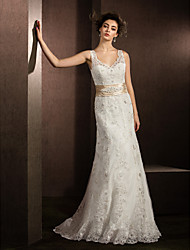 Lan Ting Sheath/Column Wedding Dress - Ivory Court Train V-neck Lace