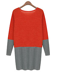 Women's Casual/Daily Shift Dress,Color Block Round Neck Above Knee Long Sleeve Red / White Cotton All Seasons