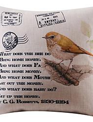 pássaro amarelo e padrão de texto algodão / fronha decorativo linho