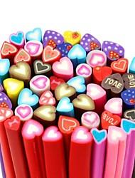 50pcs del modelo del corazón etiqueta engomada dulce vara vara de caña 3d uñas de color mixs decoración del arte