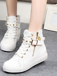 Women's Spring Fall Canvas Casual Flat Heel Buckle Zipper Lace-up Black Blue White