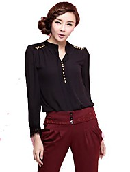 TS V Neck Blouse , Chiffon Long Sleeve