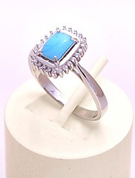AS 925 Silver Jewelry  Azure jade stone comfortable square ring