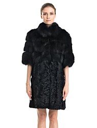 Fur Coat Half Sleeve Stand Collar Real Fox and Lamb Fur Casual Coat