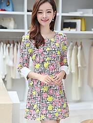 Women's Multi-color Dress , Casual/Print ¾ Sleeve