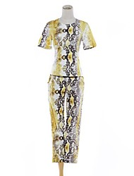 Women's Round Collar Printing Serpentine Bodycon Suit (Top & Pants)