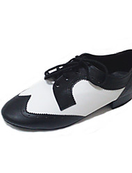 Non Customizable Men's Dance Shoes Swing Shoes Leather Chunky Heel Black