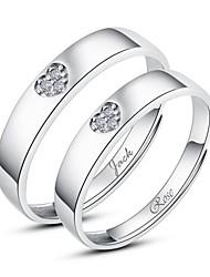 cadeau personnalisé simples couples argent 925 sterling anneaux d'ouverture