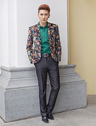 Black&Multicolor Patterns Slim Fit Tuxedo In Polyester