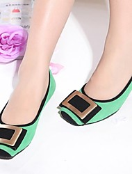 Women's Shoes Suede Spring / Summer / Fall Square Toe Casual Flat Heel Green / Pink / Purple / Beige