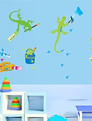 Wall Stickers Wall Decals, Cartoon Geckos Drawing PVC Wall Stickers