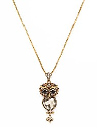 Fashion Women Stone Set Owl Pendant Necklace