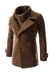 T.D.L Men's Fashion Casual Like Two Piece Solid Color Coat