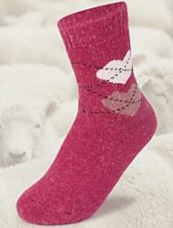padrão da moda grande coração das mulheres mais meias grossas (5pairs, cor colocação aleatória)
