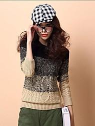 Frauen koreanische Maxi Größe verdickt Rundkragen Pullover Twist Pullover