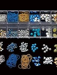 12 типов смешивания ногтей заклепки бисер цепь полукруглый stcker DIY Nail Art Decoration