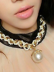 Women's Large Multi Pearl Pendant Clavicle Necklace