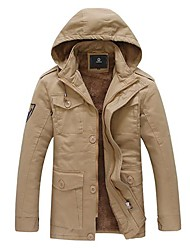 Men's Long Parka Coat , Cotton Long Sleeve