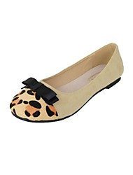 Women's Shoes Suede Spring / Summer / Fall Round Toe Casual Flat Heel Bowknot / Split Joint Black / Beige
