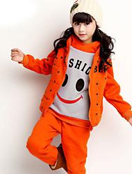 Girl's Blouse / Hoodie & Sweatshirt / Pants / Down & Cotton Padded / Vest / Clothing Set,Cotton Blend Winter / Fall Black / Orange