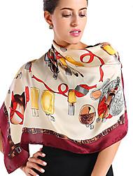 OGM Women's 100% Silk  Crepe Satin Scarf 90*90cm